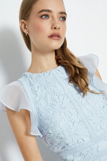 Pale blue Floral Lace Frill Sleeve Dress