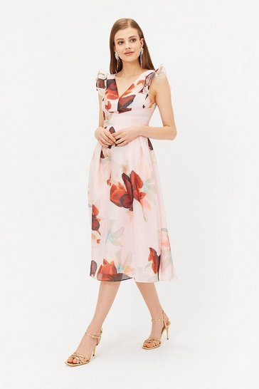 Multi Burnout Floral Frill Midi Dress
