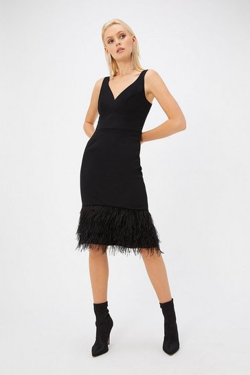 Womens Black Feather Hem Plunge Dress