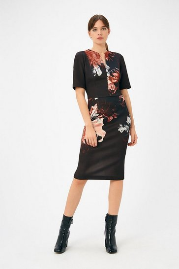 Womens Black Curve Scuba Print Shift Dress
