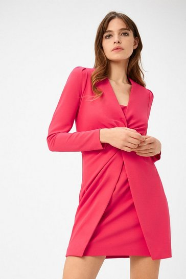 Womens Pink Scuba Crepe Twist Dress