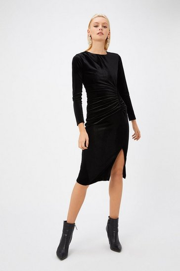 Womens Black Velvet Ruched Dress
