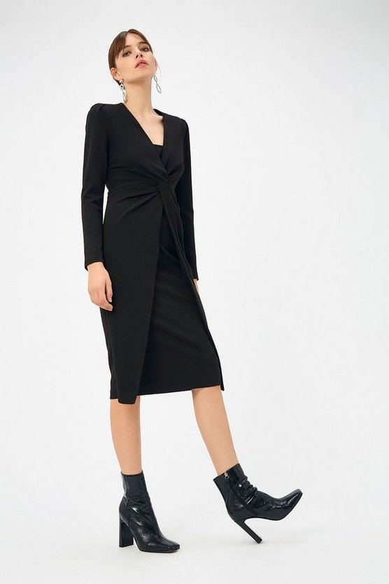 Black Scuba Crepe Twist Midi Dress