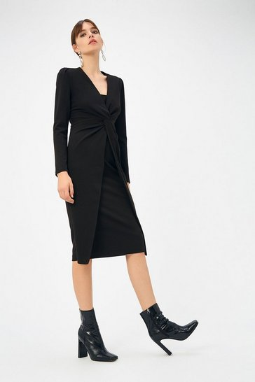 Womens Black Scuba Crepe Twist Midi Dress
