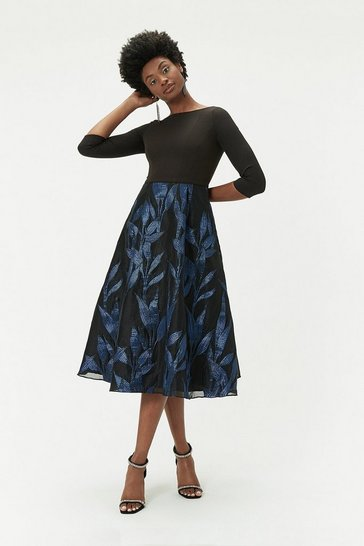 Womens Black Jacquard Midi Dress