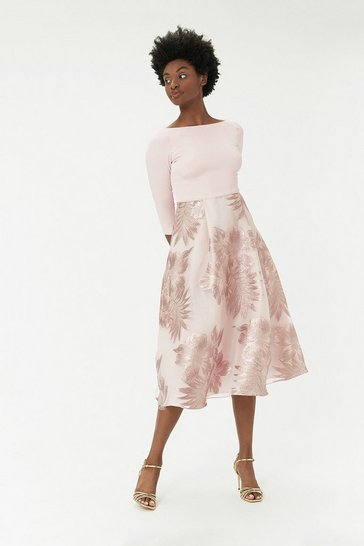 Nude Jacquard Midi Dress