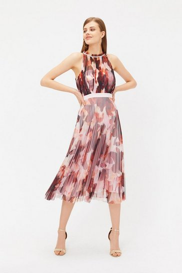Multi Pleated Tulle Midi Dress