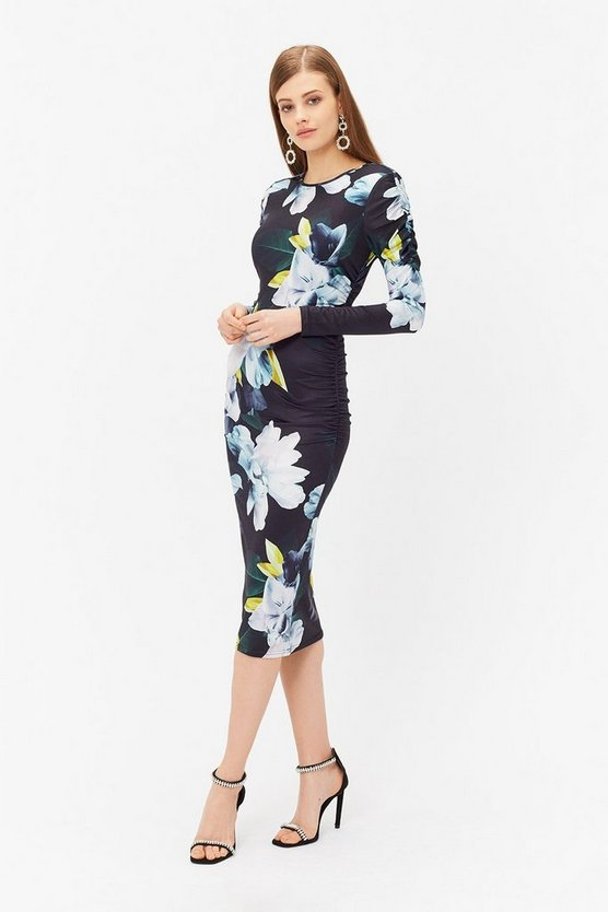 Multi Printed Jersey Ruched Dress