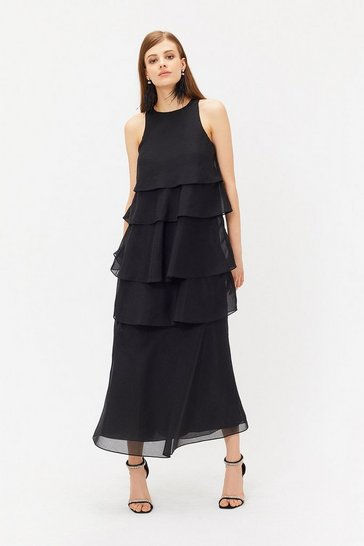 Black Tiered Organza Dress
