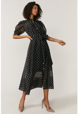 Black Spot Organza Puff Sleeve Dress