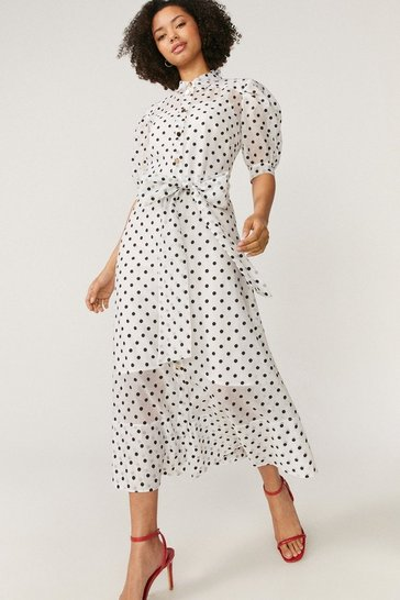 Ivory Spot Organza Puff Sleeve Dress