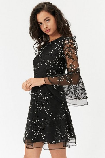 Womens Black Embroidered Flute Sleeve Dress