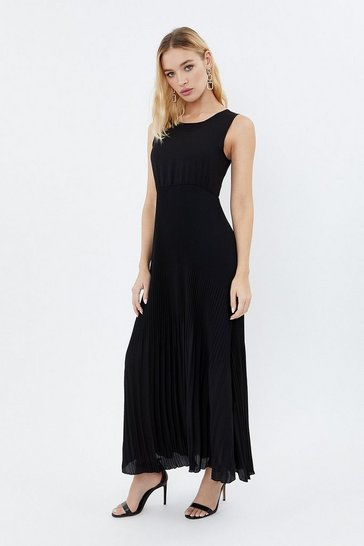 Black Pleat Skirt Dress