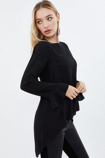 Black Drop Waist Peplum Blouse