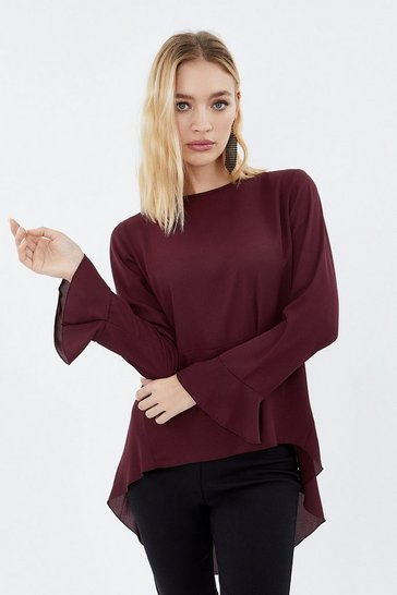 Wine Drop Waist Peplum Blouse