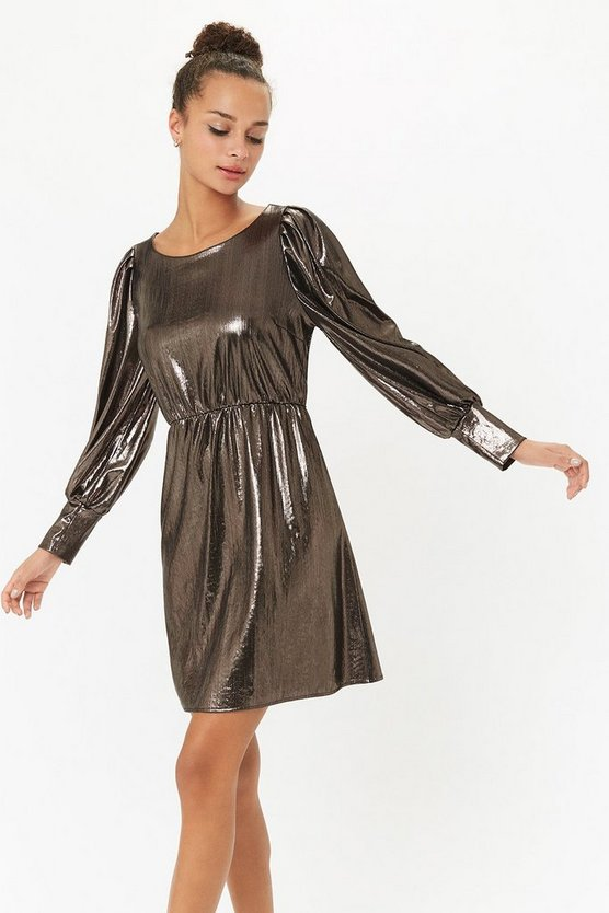 Pewter Metallic Jersey Mini Dress