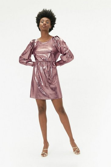 Pink Metallic Jersey Mini Dress