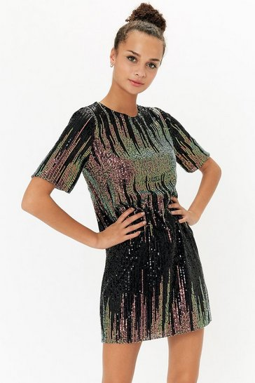 Teal Sequin Tunic Dress