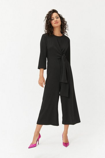 Womens Black Woven Wide Leg Culotte Jumpsuit