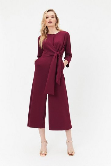 Wine Wide-Leg Culotte Jumpsuit