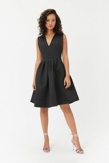 Black Plunge Neck Structured Full Skirted Dress