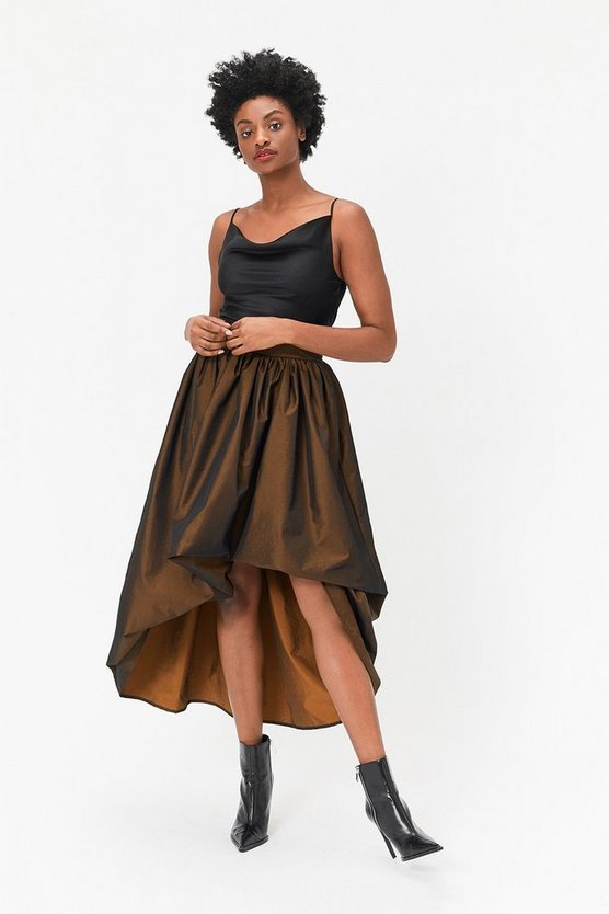 Bronze Puff Detail Maxi Skirt