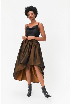 Bronze Puff Detail High-Low Midi Skirt
