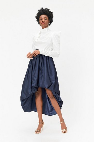 Navy Puff Detail High-Low Midi Skirt