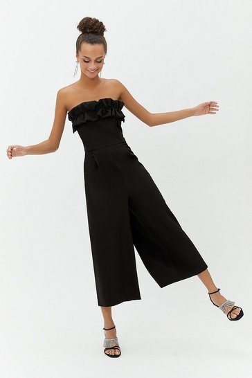 Womens Black Ruffle Bandeau Jumpsuit