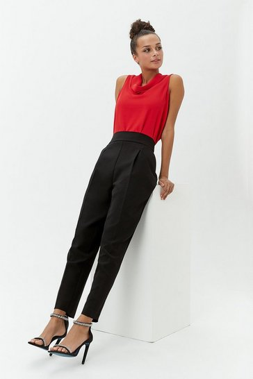 Womens Black High-Waisted Trousers
