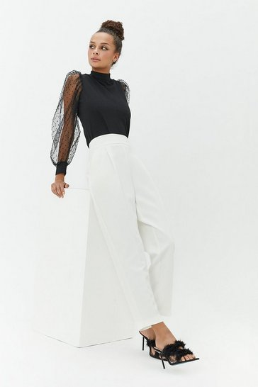 Womens Ivory High-Waisted Trousers