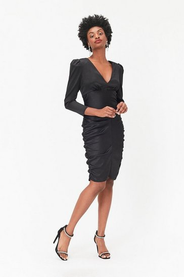 Womens Black Long Sleeve Satin Stretch Dress