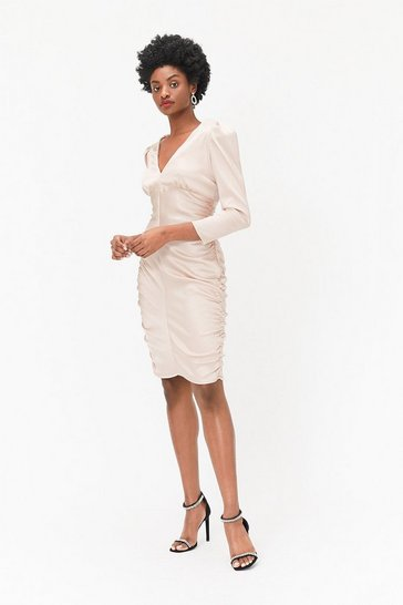 Womens Champagne Long Sleeve Satin Stretch Dress