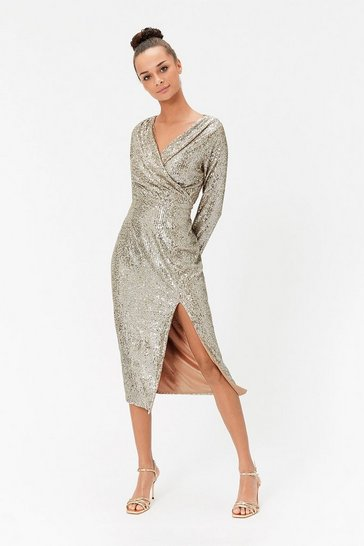 Champagne Sequin V Neck Midi Wrap Dress