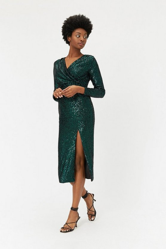 Green Sequin V Neck Midi Wrap Dress
