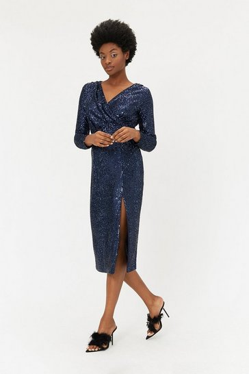 Navy Sequin V Neck Midi Wrap Dress