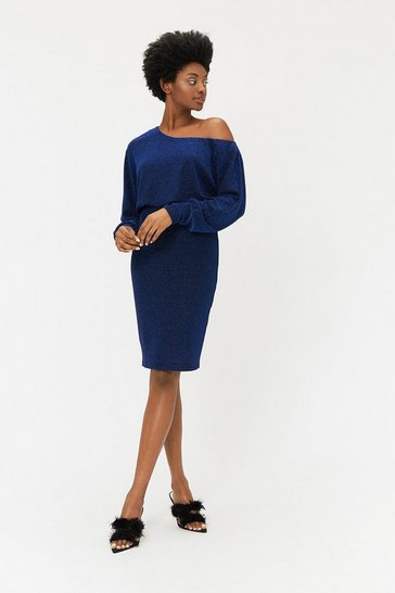 Cobalt Batwing Sparkle Jersey Midi Dress