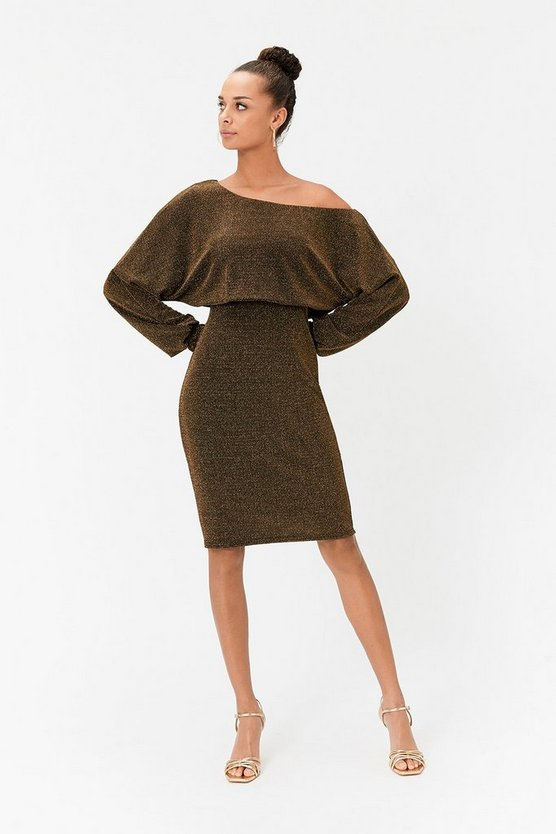 Gold Batwing Sparkle Jersey Midi Dress