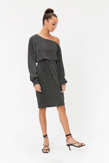 Silver Batwing Sparkle Jersey Midi Dress