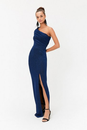 Cobalt Sparkle One Shoulder Maxi Dress
