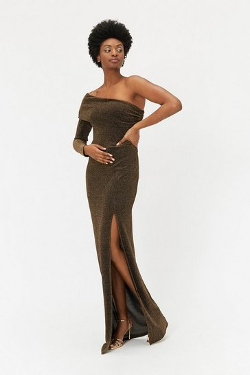 Gold Sparkle One Shoulder Maxi Dress