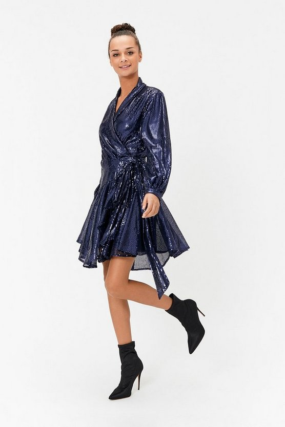 Navy Sequin Skater Mini Dress