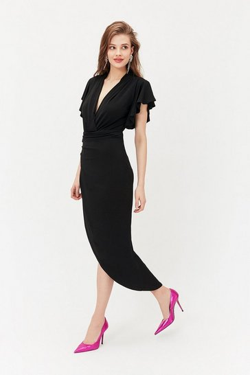 Black Jersey Ruched Midi Dress