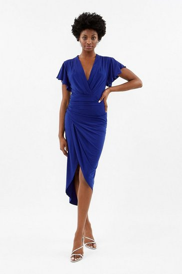 Cobalt Jersey Ruched Midi Dress