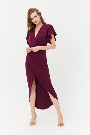 Plum Jersey Ruched Midi Dress