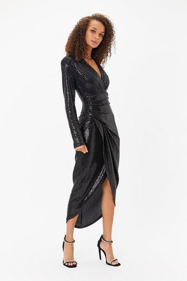 Black Sequin Ruched Dress