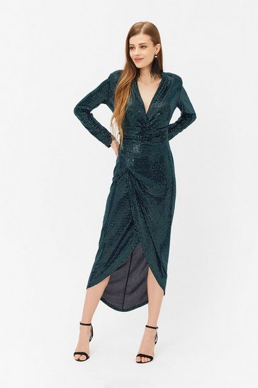 Teal Sequin Ruched Dress