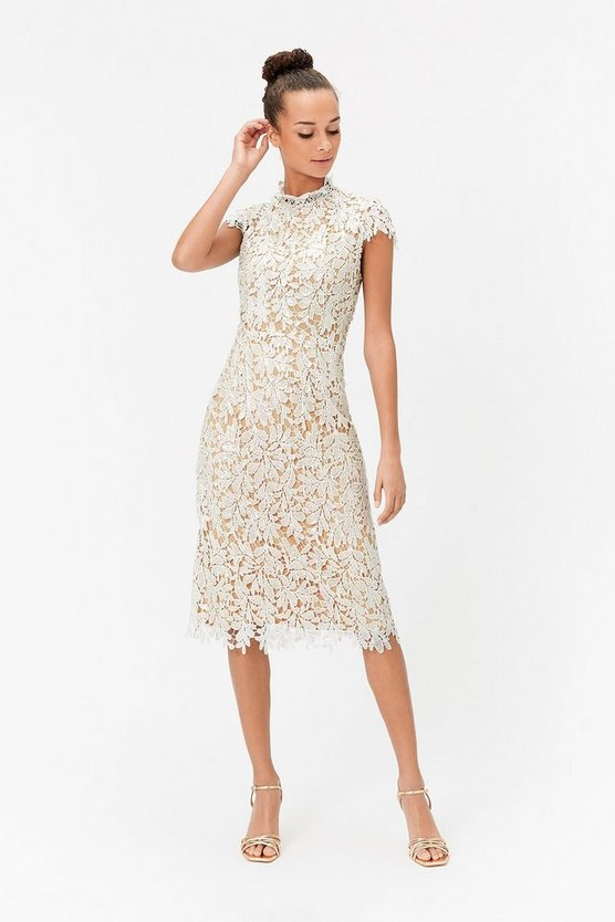 Womens Ivory Lace Sequin Midi Dress