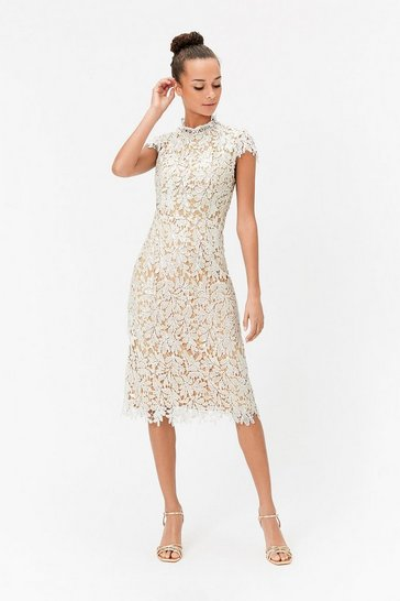 Ivory Lace Sequin Midi Dress