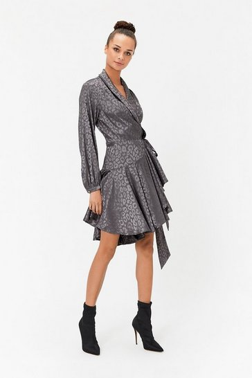 Gun metal Animal Jacquard Skater Mini Dress